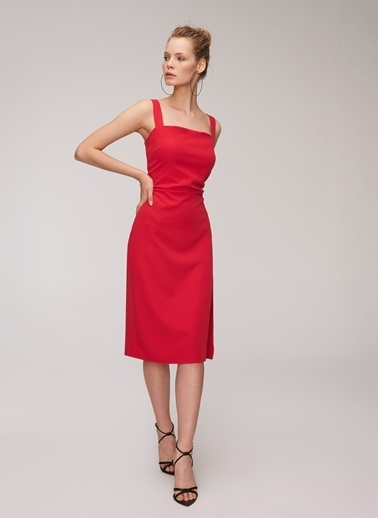 People By Fabrika Askılı Elbise Kırmızı
